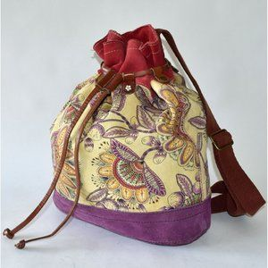 LUCKY BRAND Floral Suede Backpack Bucket Bag